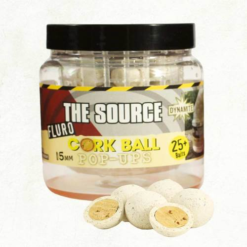 Source White Fluoro 15mm Pop Ups (Cork Ball)